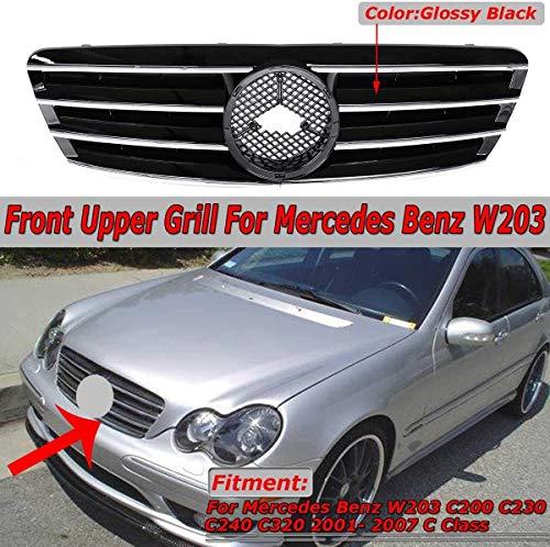 XBXDM Rejilla De Parachoques Superior Frontal De Coche W203 para Mercedes para Benz W203 C200 C230 C240 C320 2001-2007 Clase C