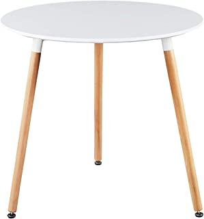 """Sponsored Ad - GreenForest Round Dining Table 32"""", Modern White Kitchen Dining Room Table Small Wooden Leisure Coffee Tabl..."""