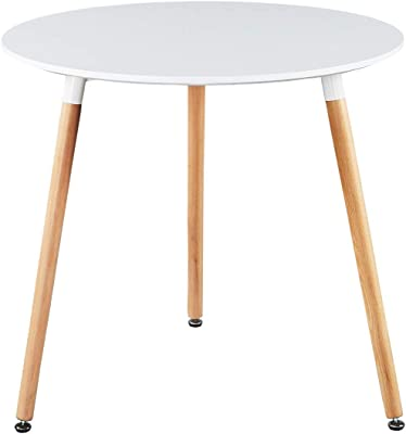 Amazon Com Greenforest Round Dining Table 32 Modern White Kitchen Dining Room Table Small Wooden Leisure Coffee Table For Home Office Living Room Lounge Easy Assembly Tables