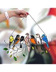Vogels decoratie, vogels decoratie hangend, vogel decoratie, mini gevlekte vogel, decoratie vogel vis de tuin woonkamer muur decoratie, deurdecoratie, decoratieve vensters, 7 vogels, gekleurd