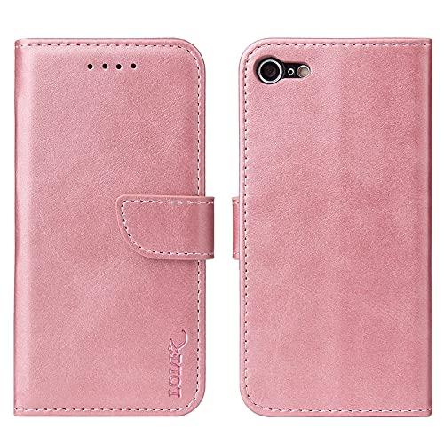 LOLFZ Hülle für iPhone 6 iPhone 6S, Premium Leder Handyhülle mit Kartenfach Ständer Magnetische Schutzhülle für iPhone 6 iPhone 6S - Rosegold