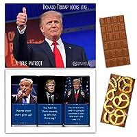 "DA CHOCOLATE キャンディお土産TRUMPチョコレートセット1箱7.2x5.2 ""3オンス各チョコレート4x2"" (MILK Blueberry Coconut Pretzel)"