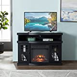 GOOD & GRACIOUS Electric Fireplace TV Stand, Fit up to 55' Flat Screen TV with Two Tempered Glass Cabinet Entertainment Center for Living Room, Black