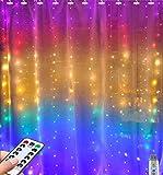 Luces de cortina de arco iris Greenke LED de cadena de luces impermeables con luces de hadas remotas para dormitorio pared cumpleaños Navidad decoración de boda