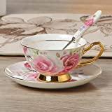 Tenbroman Vintage Fine Bone China Coffee Cup Spoon Saucer Set English Afternoon Tea Cup Coffeeware Porcelain Cup and Saucer for Home Kitchen Wedding (C)