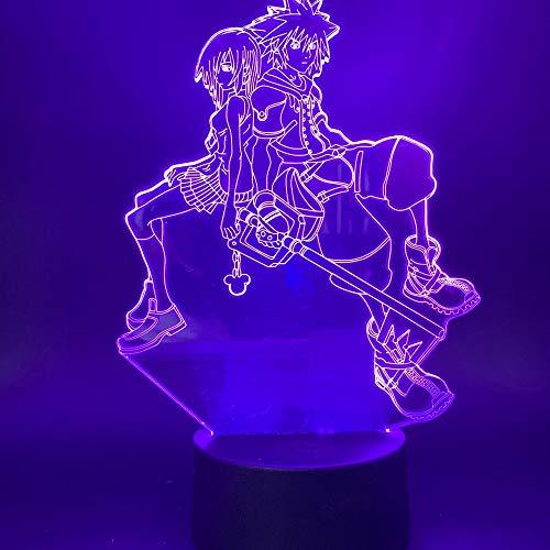 Juego Kingdom Hearts Sora Kairi Figura Cool Night Light 3D LED USB Lámpara de mesa niños regalo de cumpleaños decoración de la habitación junto a la cama