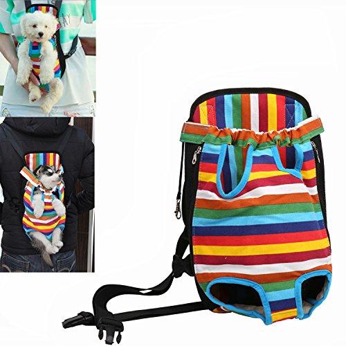 Kismaple Pet Front Carrier Bag, Convenient Hands Free Adjustable Pet Dog/Cat Carrier Backpack Double Shouder Bag for Walking Hiking Shopping Bike and Motorcycle (S (28 * 18cm), Colorful)