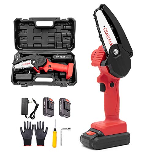 Photo of Desert camel Mini Handheld Cordless Chainsaw 4-Inch Cordless Electric Protable Chainsaw with storage box For Wood Cutting, Tree Pruning And Garden,2 Batteries