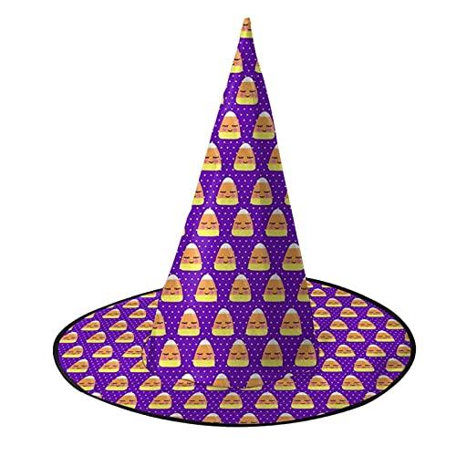 Bonito caramelo maz prpura lunares Halloween bruja sombrero Halloween adulto mujer negro para Halloween vestido de disfraces de fiesta accesorio de moda