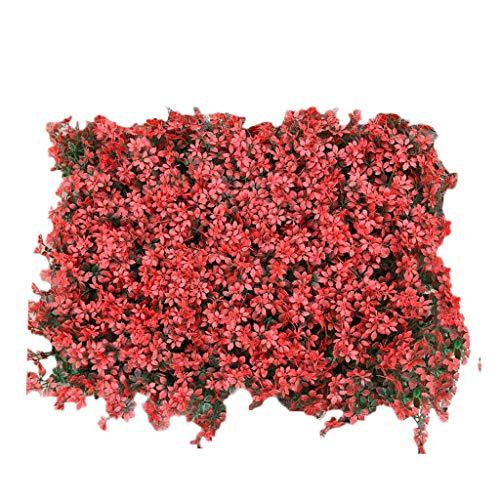 Gazon PING- Artificiel Haie Plante Panneau Mur, Pelouse Feuille D'érable PE De Haute Qualité 40x60cm / Pièce Décoration De Clôture De Clôture UV Extérieure Vert Rouge (Color : Red, Size : 12Pack)