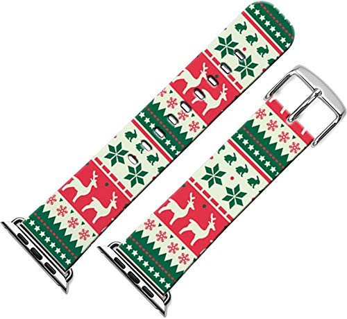 Bands Compatible with Iwatch 40mm/38mm Christmas & Cisland Leather Strap Compatible with Apple Watch Series 1/2/3/4/5/6/SE Sport & Edition Beautiful Lovely Christmas Day Xmas Printing Design Present
