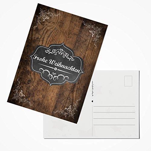 Logbuch-Verlag 100 Weihnachtspostkarten braun schwarz weiß mit Text FROHE WEIHNACHTEN Postkarten Set vintage 10,5 x 14,8 cm