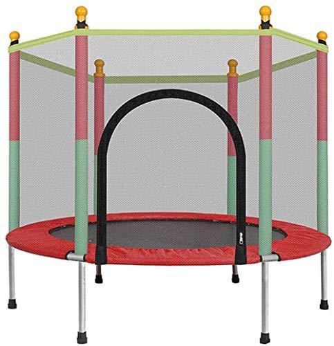 Trampoline voor binnen- en buitenspeelgoed met veiligheidsnet en 360 ° gewatteerde handgreep Trampolines voor kinderen 140X122x88cm rood(Upgrade)