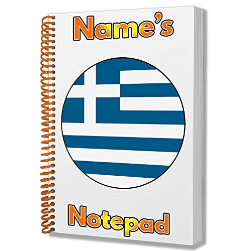 Gepersonaliseerd geschenk - Griekenland Vlag A5 Notepad/Notebook - Gift - Verjaardag - Kerstmis - Stocking Filler - Geheime Kerstman - ADD elke naam