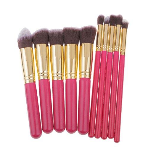 SM SunniMix 10pcs Pinceaux De Maquillage Mis En Fond De Teint Poudre Lèvre Oeil Brosse Rose Rouge + Or - Bleu + Argent