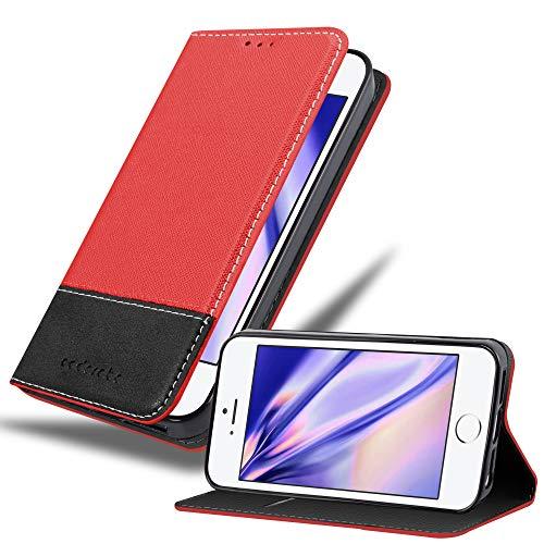 Cadorabo Funda Libro para Apple iPhone 6 / iPhone 6S en Rojo Negro - Cubierta Proteccíon con Cierre Magnético, Tarjetero y Función de Suporte - Etui Case Cover Carcasa