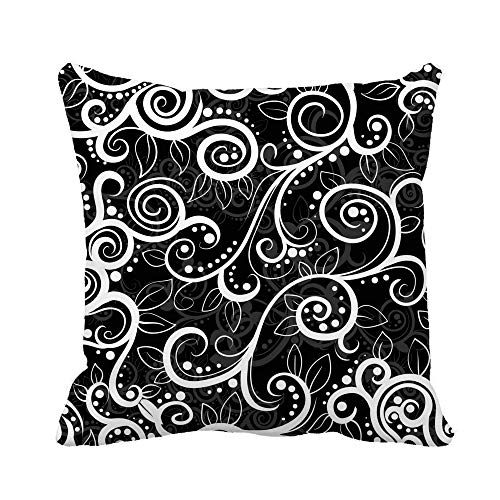 Throw Pillow Cover Damask Black and White Pattern Organic Western Able Antique Pillowcase Home Decorative Square Pillow Case Cushion Cover