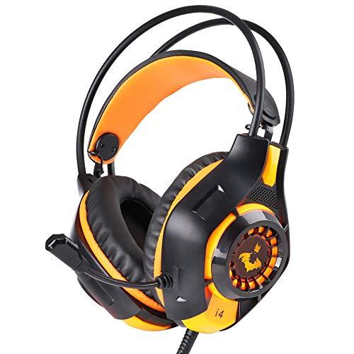 DNACC Gaming Kopfhörer 50MM Treiber Surround Sound Over-Ear Headphone 3.5mm Noise Cancelling mit Mikrofon Kabelgebunden Volume Contro LED Light Headphone für PS 4 PC Computer (Gelb)