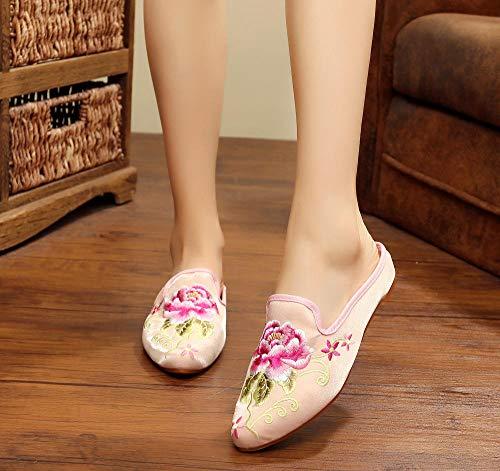 COQUI Chanclas,Nuevas Zapatillas de Tela de Beijing, Zapatos Bordados étnicos Puntiagudos, Estilo Chino, Ropa Exterior Retro, para Mujer-Rosa_39