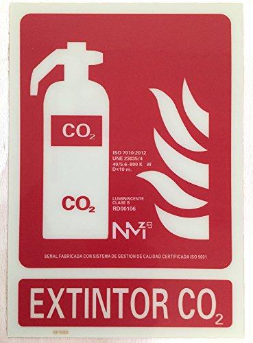 Grupo Cano Lopera | Señal Luminiscente para Extintores de CO2 | De Clase B | Cartel de PVC 0,7mm 21x30cm | Con CTE, RIPCI | Tinta de gran Adherencia y Resistencia | Apto para la Nueva Legislación