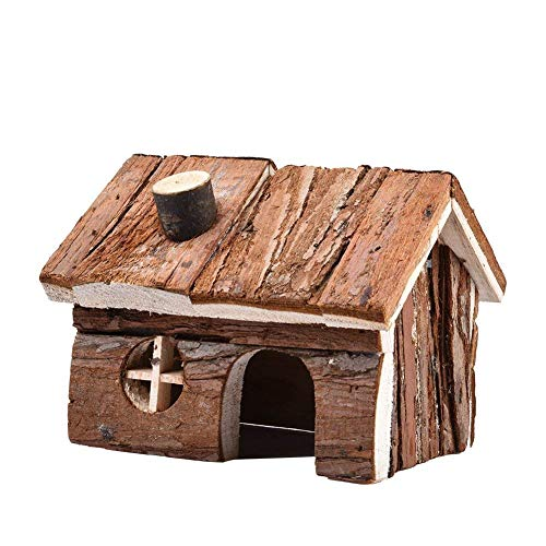 Price comparison product image Natural Wooden Hamster House Cage Small Animals House with Chimney for Pet Rats Gerbil Hideout Play House (S)