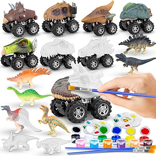 Dinosaur Toys Painting Set, Kids Arts and Crafts Kit, Pull Back Dinosaur Cars Toys...