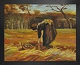 1art1 Vincent Van Gogh Póster Impresión Artística con Marco (Madera DM) - Mujer Campesina Que Cava Patatas, 1885 (50 x 40cm)