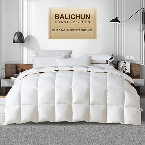 Balichun Premium Goose Down Comforter Queen- Solid White - Soft 1500 Thread Count Cotton Shell - 750 Fill Power - Down Duvet Insert with Tabs (White, Queen)