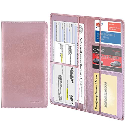 Wisdompro Car Registration and Insurance Documents Holder - Premium PU Leather Vehicle Glove Box Paperwork Wallet Case Organizer for ID, Driver's License, Key Contact Information Cards (Rose Gold)