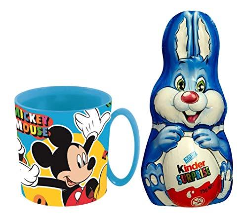 Uovo di Pasqua Coniglietto Kinder Surprise Cioccolato al Latte 75g + Tazza di plastica Disney Topolino Mickey Mouse 350ml Ufficiale