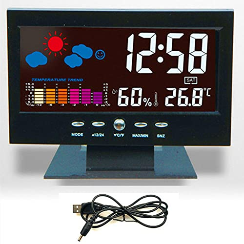 Reloj de Mesa Digital LED,LCD Reloj Despertador con Repetición Fuerte/Calendario/Clima/Pantalla A Color/Temperatura/Humedad/Calendario/Control Voz