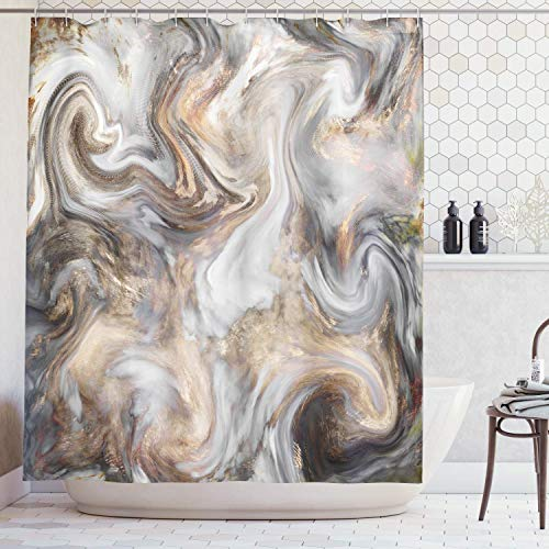 Homey Room Bathroom Shower Curtains Durable Polyester Standard 72'' x 72'', Retro Style Paintbrush Colors in Marbling Texture, Waterproof Bathtub Curtains Accessories Set with Hooks Decorations