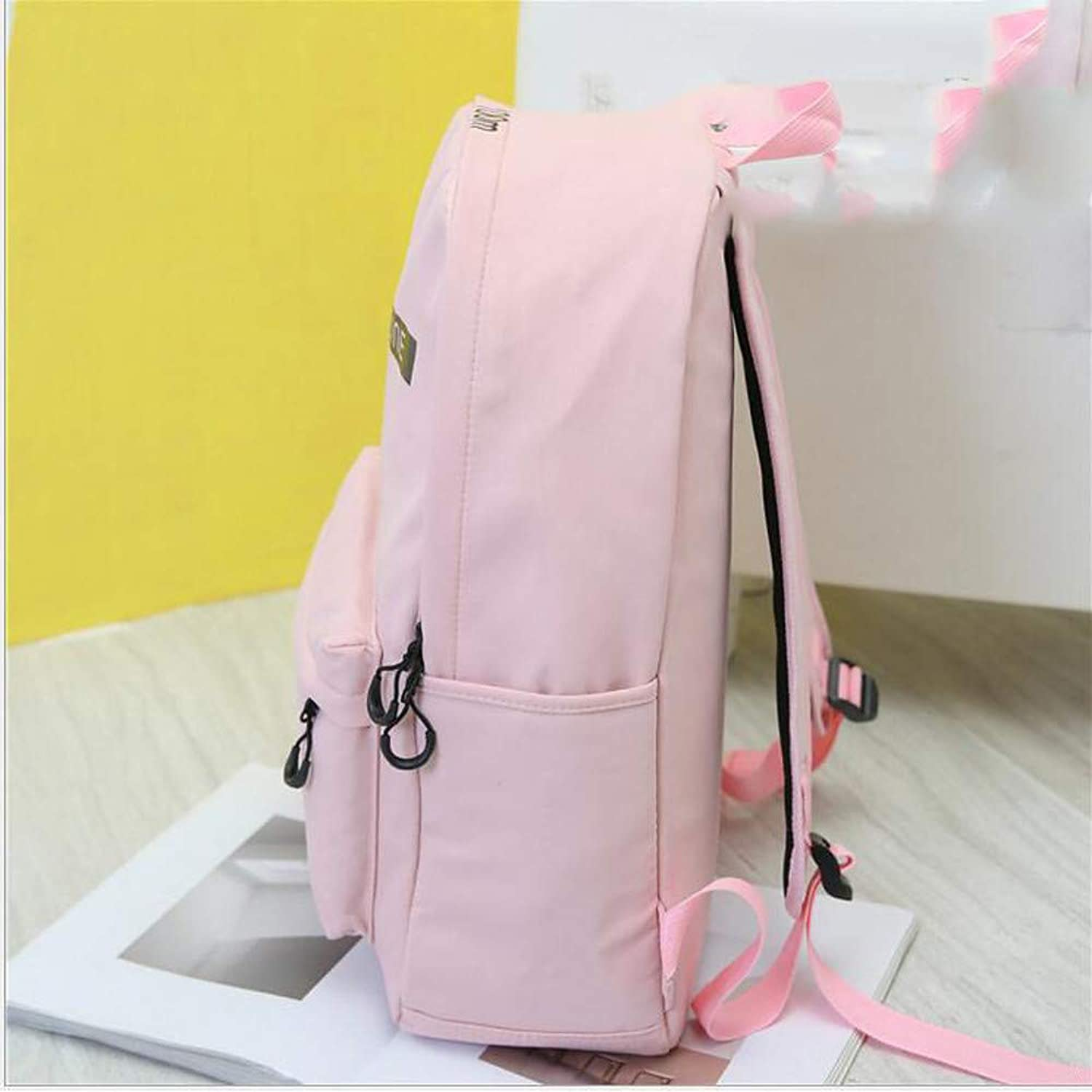 Novopus backpack:Women's Bags Nylon School Bag Zipper Black Pink Khaki