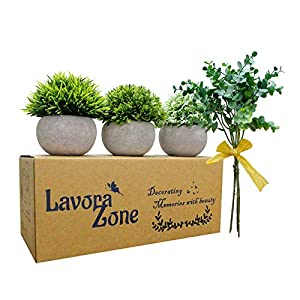 Lavora Zone Mini Fake Plants 3+1 Piece Set Small Artificial Plants Faux Greenery Topiary Plants & Flower for Bathroom Decor,Home Decor Plastic Fake Plant with Pot Indoor