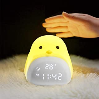 HONGKIDS Kids Alarm Clock for Girls Boys, Kids Gifts for Sleep Trainer Nursery Night Light Touch Alarm Clock, Night Light for Kids Bedroom, Toddler Toys for Age 2-10 (USB Rechargeable Battery Lamp)