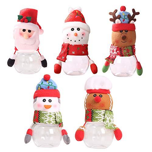 CXZC Juego de 5 tarros de caramelos de Navidad con diseño de Papá Noel, muñeco de nieve y alce transparente