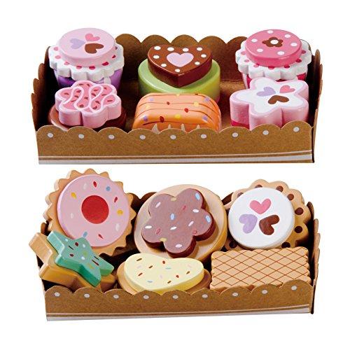 Jeu d'imitation - Set de Petits Gâteaux et Biscuits, 12 pièces en Bois avec Plateaux de la Carte