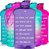 HydroMATE Half Gallon 64 oz Motivational Water Bottle with Time Marker Large BPA Free Jug with Handle Reusable Leak Proof Bottle Time Marked to Drink More Water Daily Hydro MATE (Light Purple)