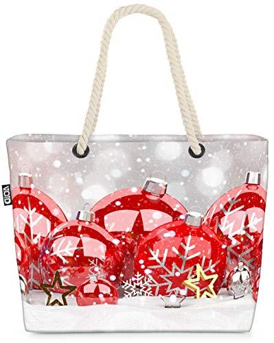 VOID Rote Weihnachtskugeln Schnee Strandtasche Shopper 58x38x16cm 23L XXL Einkaufstasche Tasche Reisetasche Beach Bag