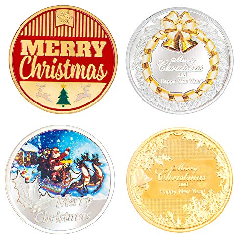 IVLWE 4PCS Christmas Coins Plated True Gold Coins Decoration Santa Claus Gifts Toys Gold Coins [2pcs] & Silver Coins [2pcs] Designed with Reindeer, Santa Claus's Sleigh, Boys Girls Kids (Christmas)