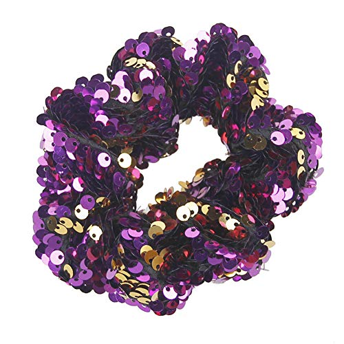 Sanwood Paillettes réversible Paillettes élastique Filles Femme Cheveux Cravate Corde fête Tête Décor