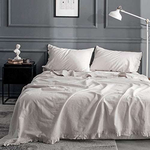 Simple&Opulence Belgian Linen Sheet Set with Ruffles - 4 Pieces (1 Flat Sheet & 1 Fitted Sheet & 2 Pillowcases) Natural Flax Cotton Blend Soft Bedding Breathable Farmhouse - Linen, King Size