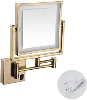 Vanity Mirror Magnifying LED Lighted Makeup Mirror 3X Magnification Two-Sided Square Retractable Chrome Finish with Drilling Or Without Drilling(Color : Exposed Plug)