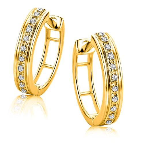 Orovi Damen Diamant Gold Creolen Ohrringe Gelbgold 9 Karat (375) Ohr-Schmuck Brillianten 0.06ct