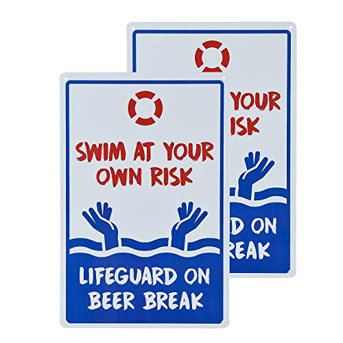 dojune - 2 Stück Schwimmbad-Schild, Swim at Your Own Risk Life Guard on Beer Break