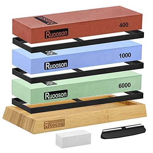 Knife Sharpening Stone Set, Ruooson Extra Large Whetstone Kit, 400/1000/6000 Grits, Professional Knife Sharpener Kit Includes NonSlip Bamboo Base, Flattening Stone & Angle Guide