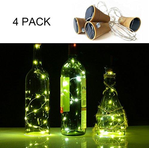 4 stuks LED-kurken, 10 LED voor flessen, solarlampen met flessen voor flessen, om te knutselen, voor feestjes, als decoratie thuis, bruiloft, Kerstmis en Halloween Warm wit