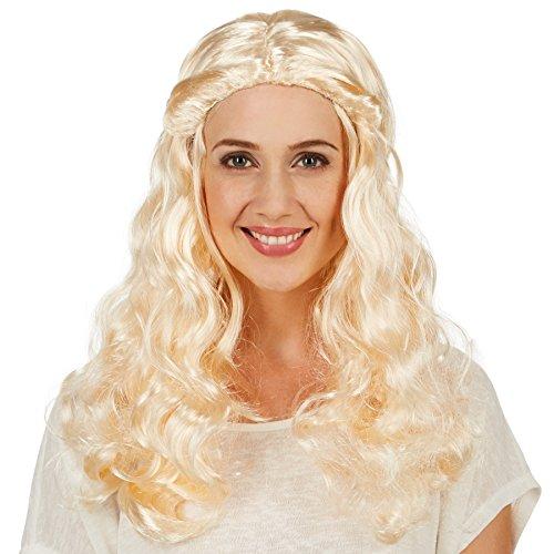 dressforfun Peluca de Elegante Dama de Corte Medieval para Mujer | Hermosa Larga Cabellera Rizada | Dos Coletas Rizadas Unidas Hacia Atrás