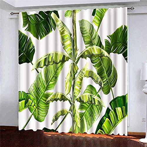 Gardiner 2 paneler vackra blommor sommarmönster tropiska palmblad bananträd perfekta tapeter webbsida bakgrunder för vardagsrum sovrum dekor