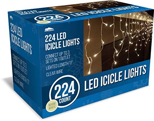 Joiedomi 224 LED Christmas Icicle Lights for Indoor & Outdoor Decorations, Christmas Events, Christmas Eve Night Decor, Christmas Tree, Eaves (Warm White)